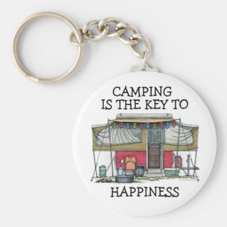 Cute RV Vintage Popup Camper Travel Trailer Key Ring
