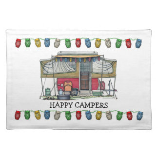 Cute RV Vintage Popup Camper Travel Trailer Placemat
