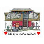 Cute RV Vintage Popup Camper Travel Trailer Post Cards