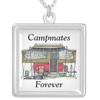 Cute RV Vintage Popup Camper Travel Trailer Silver Plated Necklace