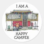 Cute RV Vintage Popup Camper Travel Trailer Round Sticker