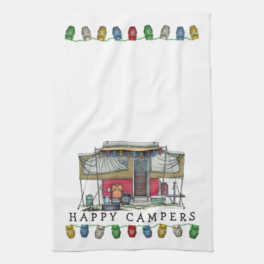 Cute RV Vintage Popup Camper Travel Trailer Tea