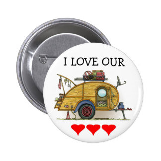 Cute RV Vintage Teardrop  Camper Travel Trailer 6 Cm Round Badge