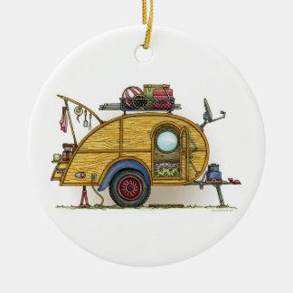 Cute RV Vintage Teardrop  Camper Travel Trailer Christmas Ornament