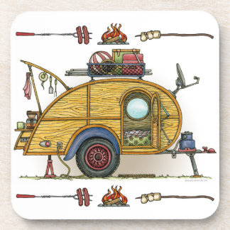 Cute RV Vintage Teardrop  Camper Travel Trailer Coaster