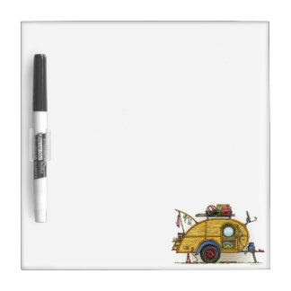 Cute RV Vintage Teardrop  Camper Travel Trailer Dry Erase Board