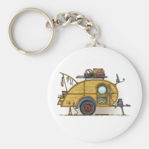 Cute RV Vintage Teardrop Camper Travel Trailer Key Ring