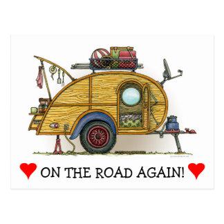 Cute RV Vintage Teardrop  Camper Travel Trailer Postcard