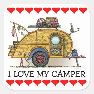 Cute RV Vintage Teardrop  Camper Travel Trailer Square Sticker