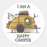 Cute RV Vintage Teardrop  Camper Travel Trailer Round Sticker