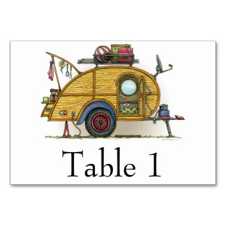 Cute RV Vintage Teardrop  Camper Travel Trailer Table Cards