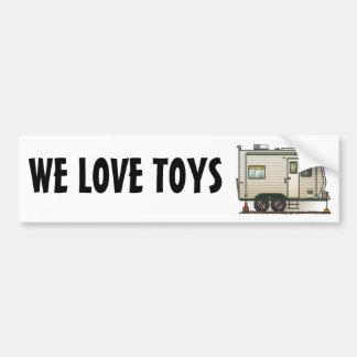 Cute RV Vintage Toy Hauler Camper Travel Trailer Bumper Sticker