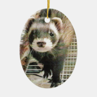 Cute Sable Ferret Double-Sided Oval Ceramic Christmas Ornament
