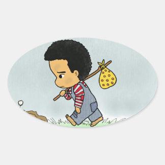 Cute Sad boy Oval Sticker