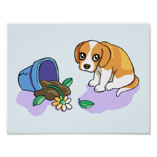 Cute Sad Brown Beagle Puppy Dog Drawing Poster