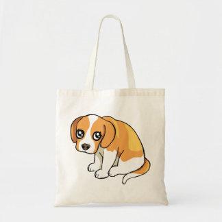 Cute Sad Brown Beagle Puppy Dog Drawing Tote Bag