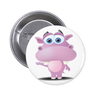 cute sad little hippo 6 cm round badge