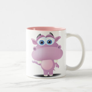 cute sad little hippo Two-Tone coffee mug