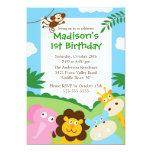 Cute Safari 1st Birthday 13 Cm X 18 Cm Invitation Card