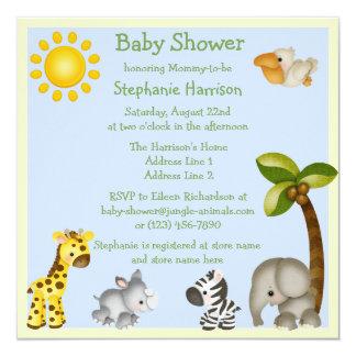 Cute Safari Animals Baby Shower 13 Cm X 13 Cm Square Invitation Card