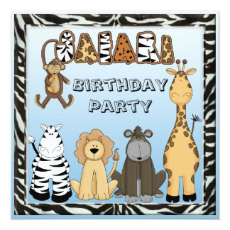 Cute Safari Animals Blue Birthday Party Card