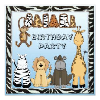 Cute Safari Animals Blue Birthday Party 5.25x5.25 Square Paper Invitation Card