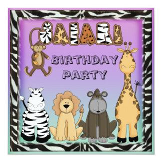Cute Safari Animals Chic Birthday Party Card