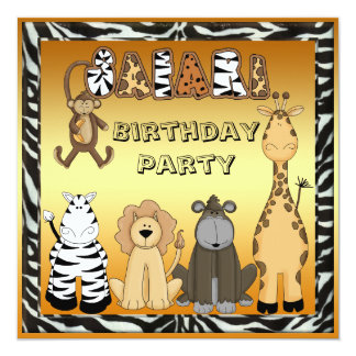 Cute Safari Animals Chic Gold Birthday Party Card