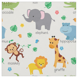 Cute Safari Animals Nursery Fabric
