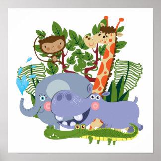 Cute Safari Animals Poster