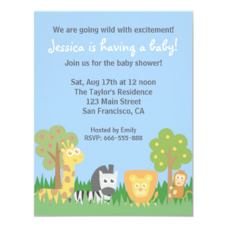 Cute Safari Animals Theme Baby Shower Party 11 Cm X 14 Cm Invitation Card