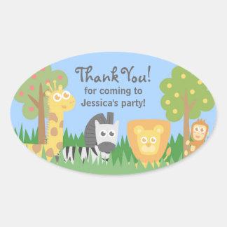 Cute Safari Animals Theme Birthday Party Oval Sticker