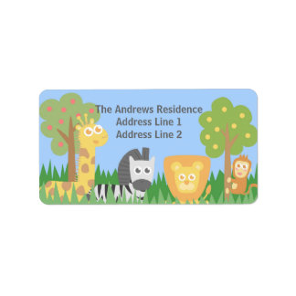Cute Safari Animals Themed Birthday Party Label