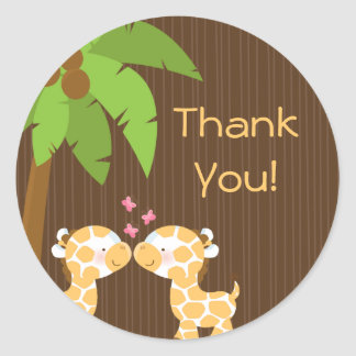 Cute Safari Giraffes Multiple Baby Shower Stickers