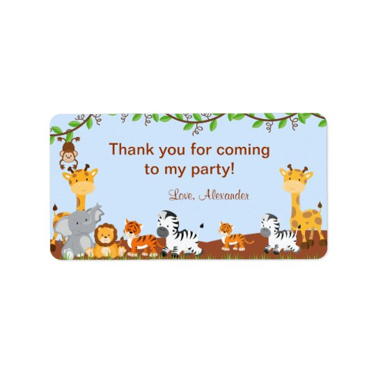 Cute Safari Jungle Animal Birthday Favour Tags Address Label