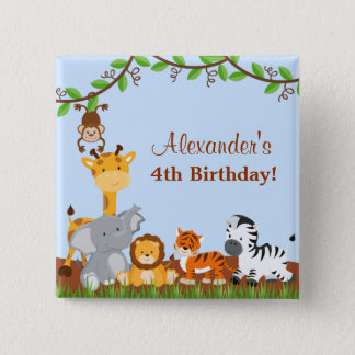 Cute Safari Jungle Animal Boy Birthday Button