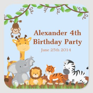 Cute Safari Jungle Animall Boy Birthday Stickers