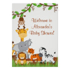 Cute Safari Jungle Animals Baby Boy Shower Poster