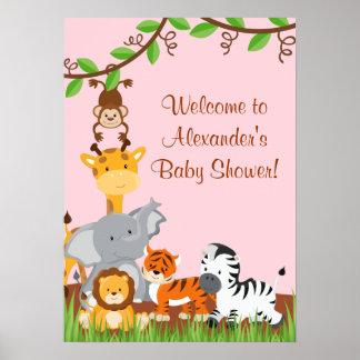 Cute Safari Jungle Animals Baby Girl Shower Poster