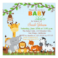 Cute Safari Jungle Animals Baby Shower Invitation