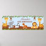 Cute Safari Jungle Animals Birthday Party Banner