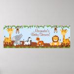 Cute Safari Jungle Animals Boy Baby Shower Banner