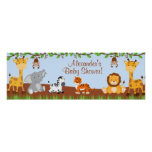Cute Safari Jungle Animals Boy Baby Shower Banner Poster