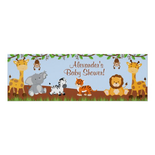 Cute Safari Jungle Animals Boy Baby Shower Banner