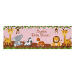 Cute Safari Jungle Animals Girl Baby Shower Banner Poster