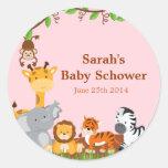 Cute Safari Jungle Baby Girl Shower Stickers