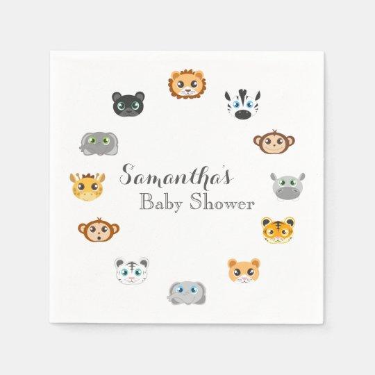 Cute Safari Jungle Baby Shower Disposable Serviettes