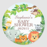 Cute Safari Jungle Baby Shower Favour Sticker