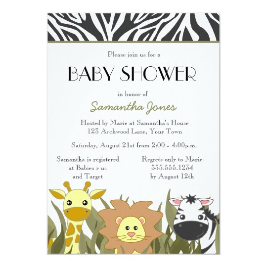Cute Safari Jungle Baby Shower Invitation