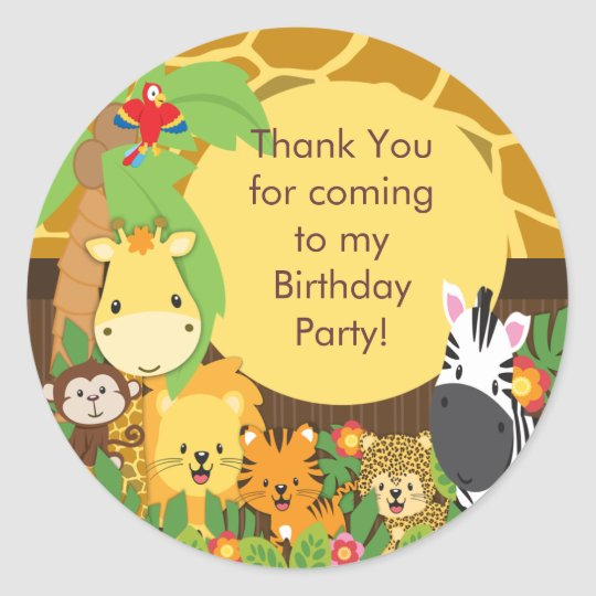 Cute Safari Jungle Birthday Party Classic Round Sticker